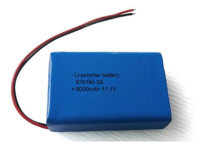 OEM / ODM 6000mAh 11.1V Li Poly Battery Pack 876190 3S LED Battery Packs
