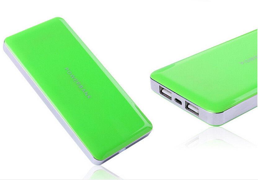 Super Slim Dual USB Fast Charging Power Bank 12000mAh 2.1A Green